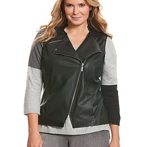 NEW Lane Bryant Faux Leather MOTO Vest SZ 20W